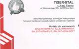 Tiger-Stal Nowy Sącz - certyfikaty (2/8)